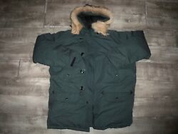 Vintage 90and039s Excalibur Goose Down Puffer Puffy Green Jacket Coat Mens Size Large