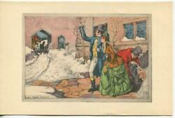 Vintage Christmas Victorian Couple Luggage Horses Snow William Mark Young Card