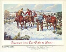 Vintage Christmas Cowboys Horses Snow Greetings From Our Outfit To Yours Card
