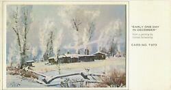 Vintage Christmas White Snow Trees Cabin Shack Early One December Day Art Card