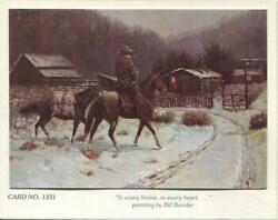 Vintage Cowboy Western Ranch Cabin Horses Snow Country Bill Bender Greeting Card