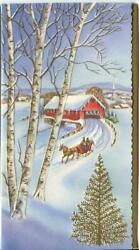 Vintage Christmas Red Covered Birch Trees Horse Sleigh Gold Tree Greeting Card