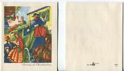 Vintage Victorian Colonial Christmas Horse Carriage And 1 Pine Cone Greeting Card