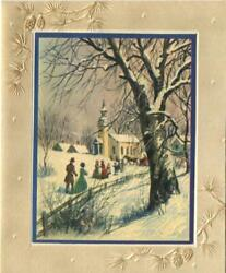 Vintage Christmas Victorian Yellow Church Snow Winter Trees Mcm Greeting Card A
