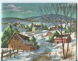Vintage Christmas Country Village Snow Mountain Silver Glitter Greeting Art Card