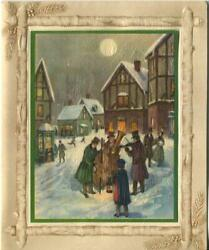 Vintage Christmas Victorian Musicians Village Row Houses Cello Greeting Card B