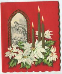 Vintage Christmas Church Window White Poinsettias Gold Candles Mcm Greeting Card