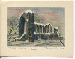 Vintage Christmas Priory Of St Mary In The Meadows Beeston Uk Stone Litho Card