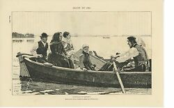 Antique Sorrow Mourning Death Coffin Infant Paddle Boat Cross Distressed Print