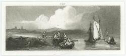 Antique Days Of Old Fishing Fishermen Sailboat Cloudy Skies Tiny Miniature Print