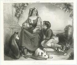 Antique Country Mother Woman Infant Sheep White Husky Dog Miniature Art Print