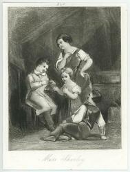 Antique Primitive Naive Mother Children Boy Girl Playing Tiny Miniature Print