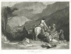 Antique Woman Riding Horse Donkey Cows Picnic Basket Friendship Water Hole Print