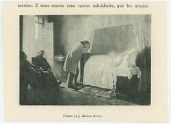 Antique Madame Bovary Mourning Death Bed Sorrow Candle Cross Miniature Print
