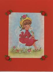 Vintage Smiling Cute Woman Red Dress Garden Daisy Flowers Collage Picture Print