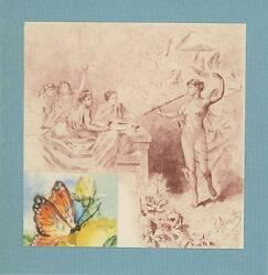 Antique Vintage Artistic Nude Woman Flute Butterfly Collage Eclectic Art Print