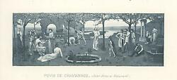 Antique Garden Nature Trees Farmer Agriculture Water Pond Miniature Old Print