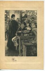 Antique Victorian Restaurant Meal Winter Glass Cigar Meal Remarque Etching Print