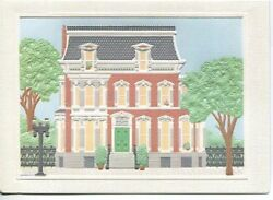 Vintage Second Empire Victorian House Porch Topiary Deep Embossed Card Print