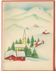Vintage 1940and039s Christmas Minimalism Red House Church Snow Village Greeting Card