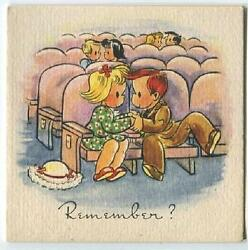Vintage 1940and039s Movie Theatre Matinee Show Blonde Girl Redhead Boy Print Art Card
