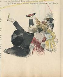 Antique Victorian Party Champagne Flute Drinking From Slipper Shoes Color Print