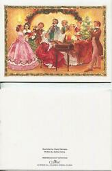 Vintage Christmas Victorian Girls Dress Men Piano Tree Singing Flute Candle Card