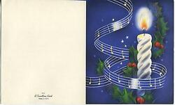 Vintage Christmas Blue Stars Music Notes Candle Flame Holly Berries Card Print