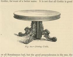 Antique Gothic Renaissance Furniture Dining Table Small Miniature Old Art Print