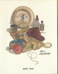 Vintage Lithograph Print Of Antique Baby Booties Bottle Cup Wood Duck Toy Card