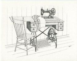 Vintage Antique White Family Sewing Room Sew Machine Desk Chair Card Art Print