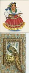 Vintage Pretty Mexican Girl Mexico Guitar Singing Bangles Card Print And 1 Peacock
