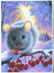 Aceo Gray Cute Mouse Dinner Winter Red Berries Snow Trees Landscape Trees Print