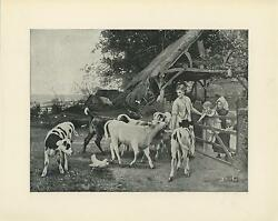 Antique Black White Spotted Cows White Chicken Country Farm Cottage Trees Print
