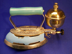 Vintage Coleman Gas Iron Model 4a Instant Lighting Self Heating Sky Blue 1940's