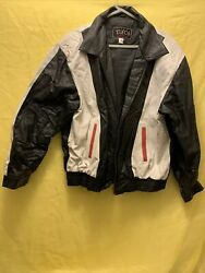 Vintage Real Leather Menand039s Jacket Size Xl With Usa Stitched On The Back Color Bl