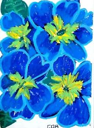 IMPRESSIONISM FLOWERS COLORFUL BLUE HUE MODERN PAINTING ON PAPER NEW ORIGINAL