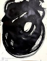 MODERN PAINTING ON CANVAS BLACK INK LARGE SIGNED HOME DECOR IMPRESSIONISM NEW