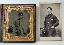 Civil War Soldier 3rd Ny Cavalry Identified 1/6 Plate Ambrotype Plus Cdv Photo