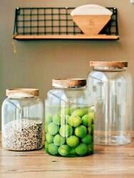 Large Glass Jar Food Storage Container With Airtight Lid Cookie Storage Canister