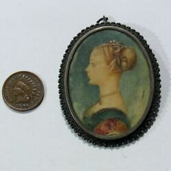 Antique Georgian Sterling Silver Pin Brooch Pendant Miniature Woman Painting