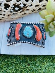 Vintage Navajo Turquoise Coral And Sterling Silver Cuff Bracelet