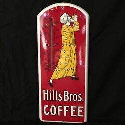 Antique Hills Brothers Coffee Porcelain Thermometer Sign - Near Mint