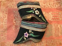 Antique Chinese Lotus/bound Feet Shoes Shandong Province Style Worn Historic