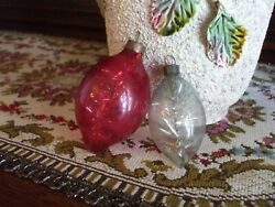 Vintage Christmas Tree Ornaments Wwii Unsilvered Pointy Shape W Tinsel Inside