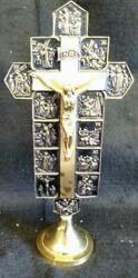 Old Vintage Mcm Brass Metal 12 Stations Of The Cross Religious Crucifix Christ