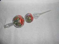 Vintage Christmas Tree Topper Hand Decorated Glass Finial / Ribbon Pine Snow