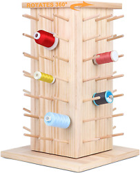 Spools Fully Rotating Wooden Thread Rack Or Thread Holder Organizer For Sewing