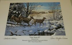1996 Persis Clayton Weirs Art Print New Snow Ii Deer Whitetails Unlimited Ntl Ed
