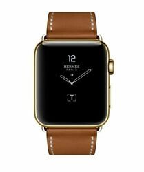 24k Gold Plated 45mm Apple Watch Series 7 Hermes 24k Gold Buckle Brown Leather